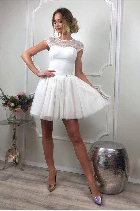 Tiulowo-koronkowa sukienka Sylwia - ecru