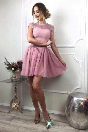 Tiulowo-koronkowa sukienka Sylwia - wrzosowy