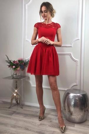 Tiulowo-koronkowa sukienka Sylwia - czerwony