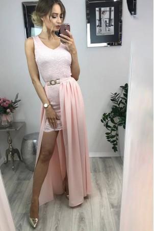 Wieczorowa sukienka Megan z doczepianą spódnicą - pudrowy róż