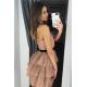 Tiulowa sukienka bez pleców Nicole - cappuccino