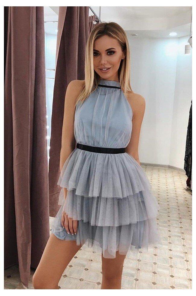 ce34b1265f178d Tiulowa sukienka bez pleców Nicole - szara - Pretty Clever Sklep ...
