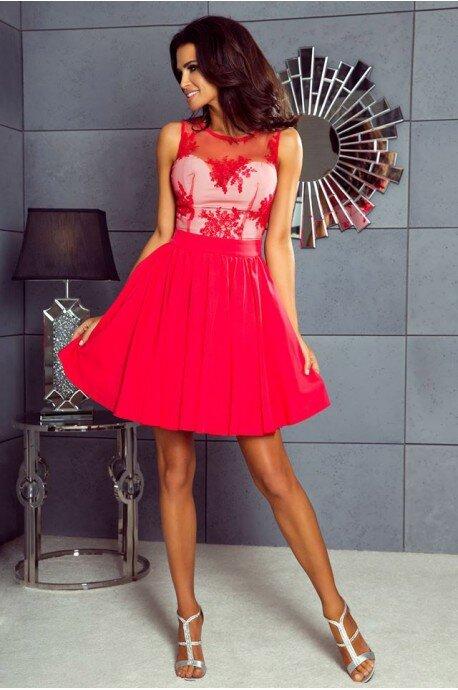 Rozkloszowana sukienka z koronką Grace - czerwona