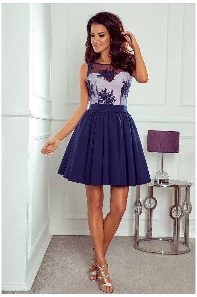 6a4d7883aa Rozkloszowana sukienka z koronką Grace - granatowa - Pretty Clever ...