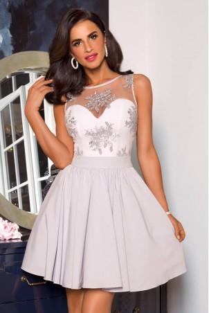 Rozkloszowana sukienka z koronką Grace - szara