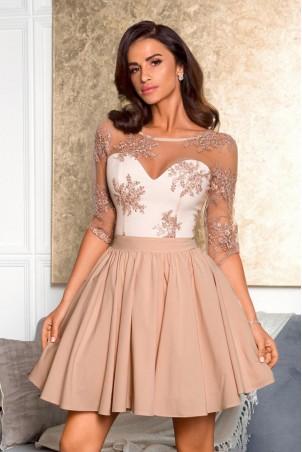 Rozkloszowana sukienka z koronką Grace - beżowa