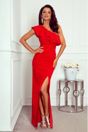 Długa sukienka na jedno ramie Andrea - czerwona