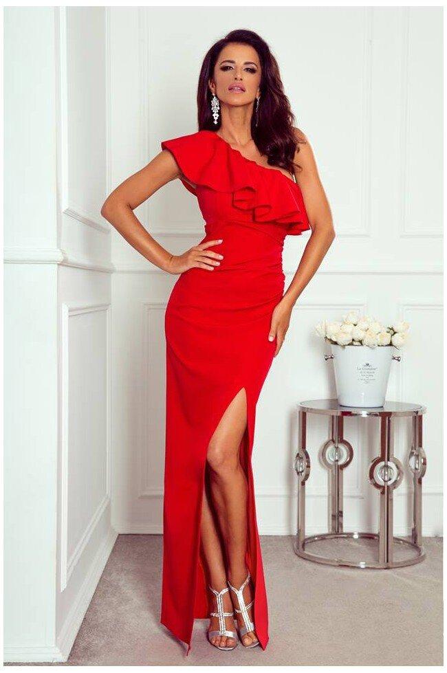 a90f764fe57f9f Długa sukienka na jedno ramie Andrea - czerwona - Pretty Clever ...