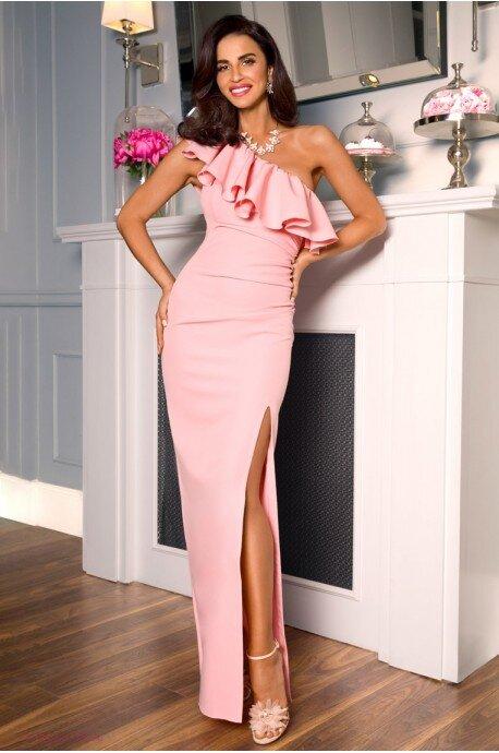 Długa sukienka na jedno ramie Andrea - różowa