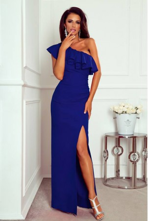 Długa sukienka na jedno ramie Andrea - chabrowa