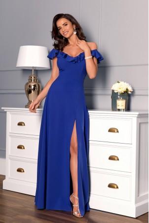 Długa sukienka z falbaną Angelina - chabrowa