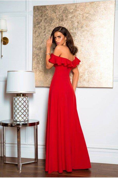 Długa sukienka z falbaną Angelina - czerwona