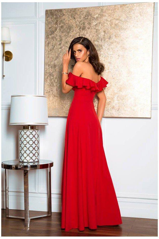 bd6578d96a3be0 Długa sukienka z falbaną Angelina - czerwona - Pretty Clever Sklep ...