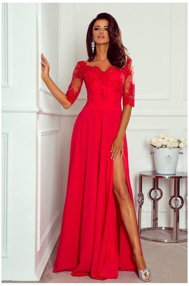 cde4fb39 Długa sukienka z koronką Nathalie - czerwona