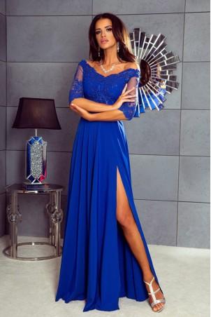 Długa sukienka z koronką Nathalie - chabrowa