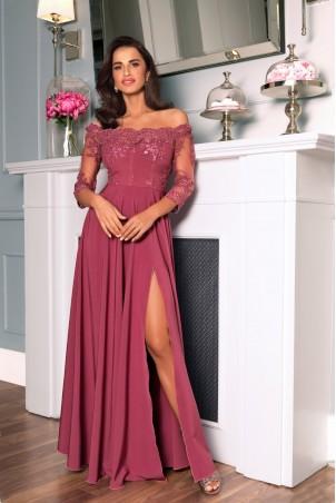 Długa sukienka z koronką Nathalie - jagodowa