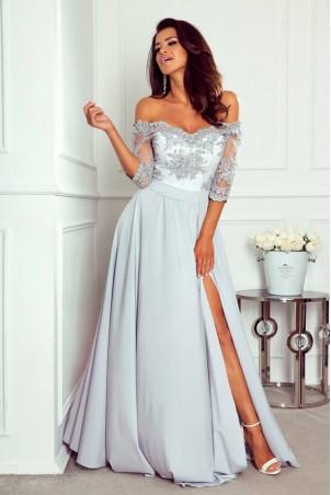 Długa sukienka z koronką Nathalie - szara