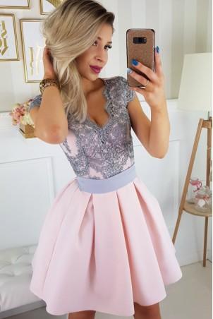 Sukienka balowa z wiązaniem i koronką Paula - różowo-szara