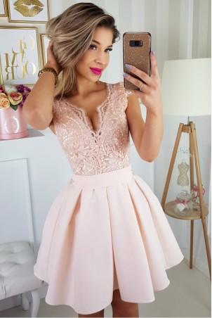 Sukienka balowa z wiązaniem i koronką Paula - brzoskwiniowy