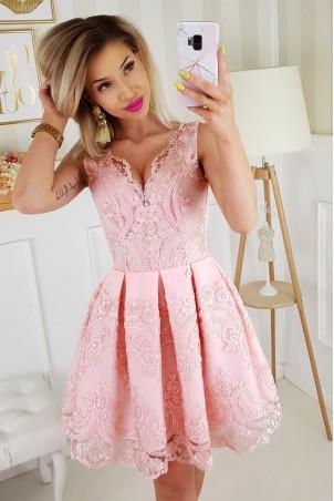 Elegancka sukienka z koronką Valery - różowa