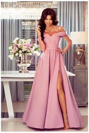 Długa suknia wieczorowa bez ramion Sandy - brudny róż