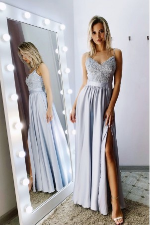 64ab0d89a9 Długa sukienka na cienkich ramiączkach Sally - szara. 369 ...