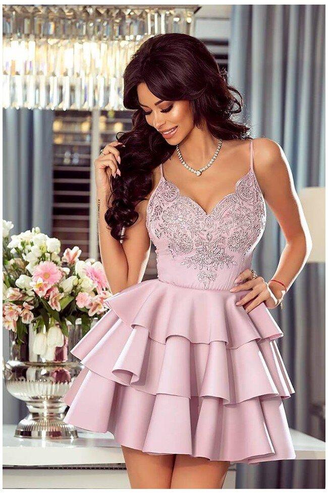 d301854c55 Rozkloszowana sukienka z trzema falbanami Afrodyta - jasny róż. Loading zoom