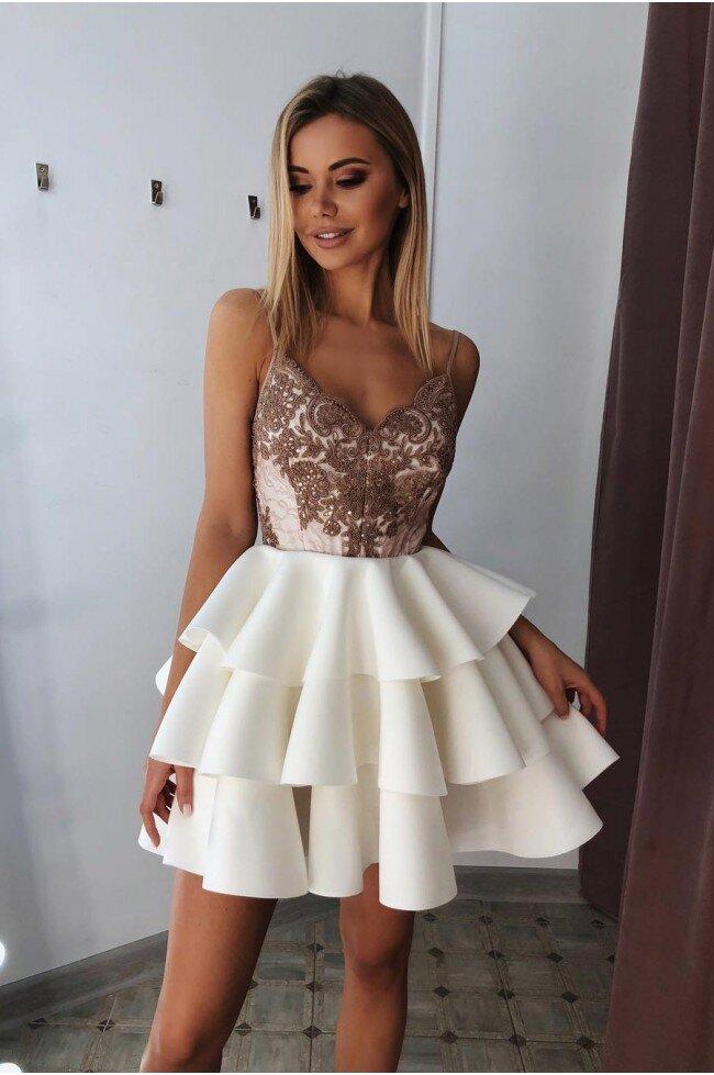 2c0d61dcd Rozkloszowana sukienka z trzema falbanami Afrodyta - ecru z cappuccino.  Loading zoom