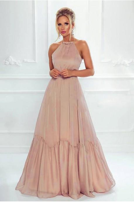 Zwiewna suknia wiązana na szyi Mystic - beżowa
