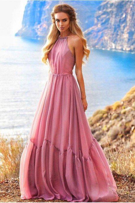 Zwiewna suknia wiązana na szyi Mystic - różowa