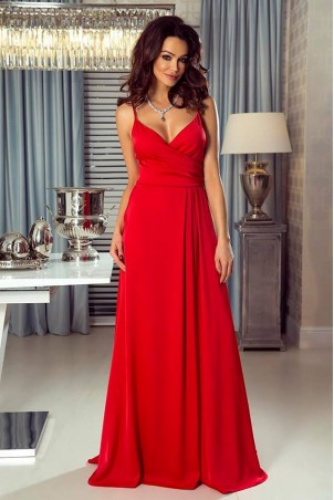 Długa suknie na ramiączkach z marszczeniem Mona - czerwona