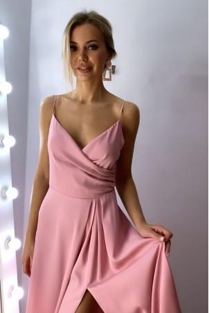Długa suknie na ramiączkach z marszczeniem Mona - różowa