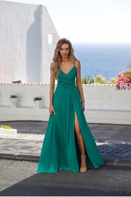 Długa suknie na ramiączkach z marszczeniem Mona - zielona