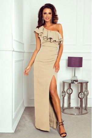 Długa sukienka na jedno ramie Andrea - beżowa