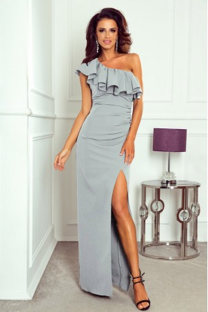 Długa sukienka na jedno ramie Andrea - szara