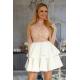 Rozkloszowana sukienka dwie falbany Lisa - biało-karmelowa