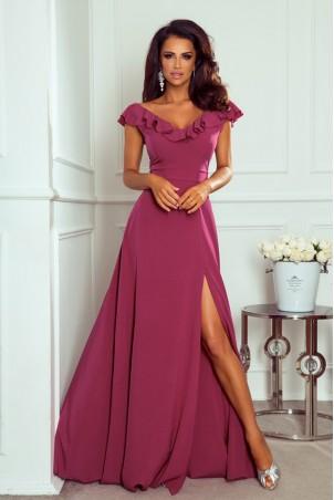 Długa sukienka z falbaną Angelina - jagodowa