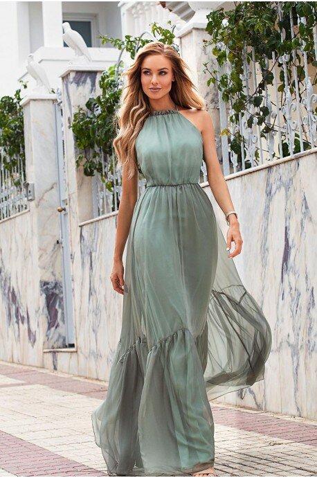 Zwiewna suknia wiązana na szyi Mystic - oliwkowa