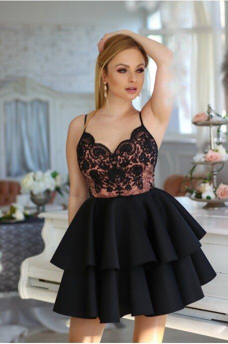 Koronkowa sukienka na wesele z piankową spódnicą Janet - czarno-beżowa