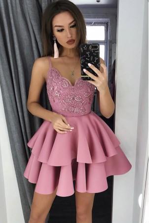 Koronkowa sukienka na wesele z piankową spódnicą Janet - różowa