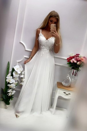 Długa suknia wieczorowa na cienkich ramiączkach Audrey - biała
