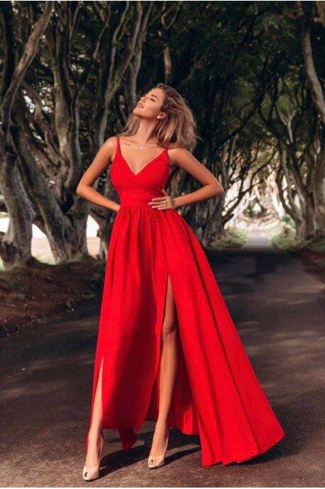 Sukienka z dwoma rozporkami Naomi - czerwona