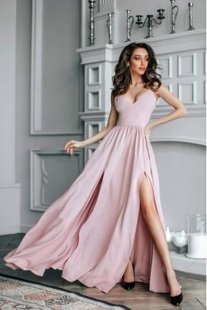 Sukienka z dwoma rozporkami Naomi - pudrowy róż