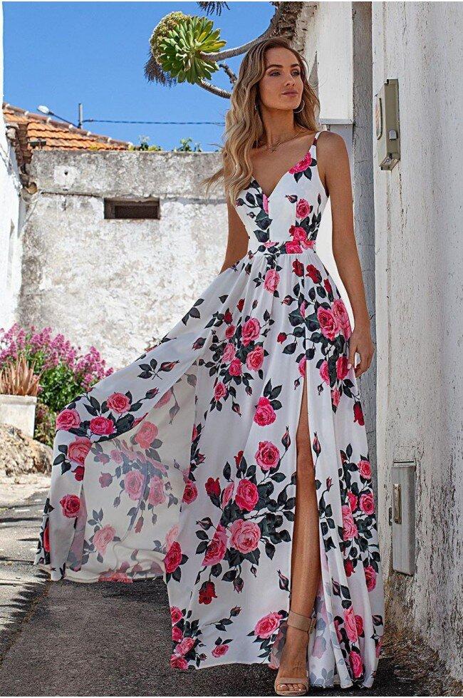 e3d58f4529 Sukienka z dwoma rozporkami Naomi - biała w róże - Pretty Clever ...
