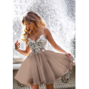 Ekskluzywna sukienka z koronkowym gorsetem Wenus - cappuccino