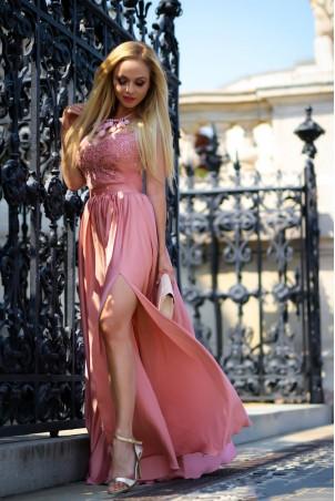 Długa sukienka na wesele z koronkową górą Julia - brzoskwiniowy róż