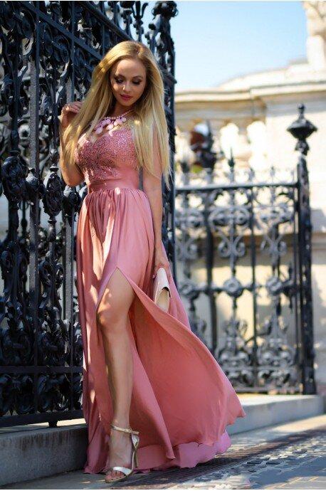 132fe1c98b Długa sukienka na wesele z koronkową górą Julia - brzoskwiniowy róż. Loading  zoom