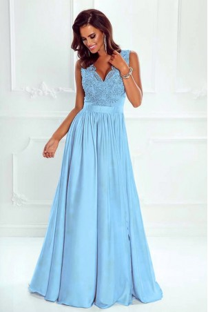 Długa sukienka na wesele z koronkową górą Julia - błękitna