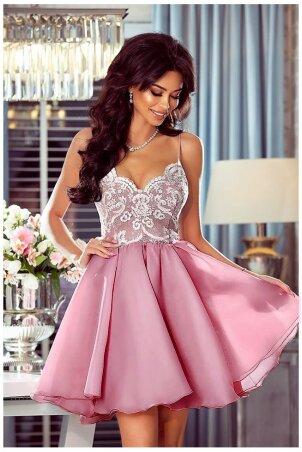 Ekskluzywna sukienka z koronkowym gorsetem Wenus - pudrowy róż