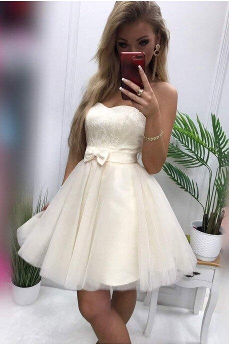 Tiulowa gorsetowa sukienka Dalia - kremowa